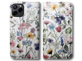 【両面デザイン】 iPhoneケース 手帳型 レザーケース カバー(花柄×ブラック)ナチュラルフラワー ボタニカルの画像