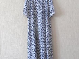 【E様分】木綿の半袖ワンピース 青の画像
