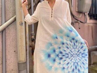 タイダイ染め チュニック ワンピース 透明な水色の大曼荼羅 ホワイトビューティ HD13-91の画像