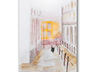 「閑暇と話しながら散歩」 猫 黒猫 街並み ほっこり癒しのイラストポストカード2枚組No.1361の画像