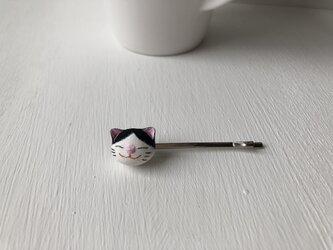 猫さんヘアピン(白黒)の画像