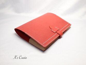 ヌメ革 手帳カバーII(レッド色)の画像