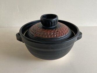 赤黒蓋ご飯用土鍋 2合炊【直火対応】の画像