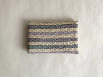 絹手染カード入れ(縞・ベージュ/グレー系)の画像