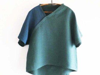 受注制作 linenプルオーバー2色 green×blueの画像