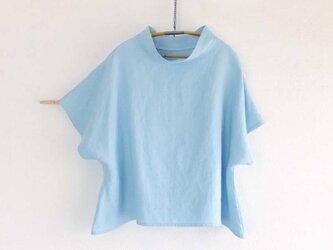 受注制作 linenプルオーバー 白藍の画像