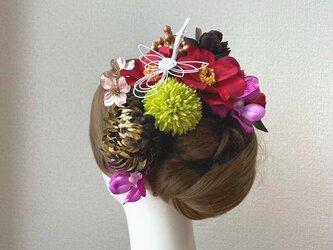 和装婚・成人式に♡ゴールドの菊と椿とマムのヘッドドレス 結婚式 成人式 着物髪飾り 和装ヘッドドレス 前撮り 赤 和装婚の画像