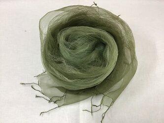 草木染め シルクストール ヨモギ グリーンの画像