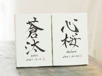 【世界に一つの手書き命名書】《SM》キャンバス 名前/ローマ字/生年月日の画像