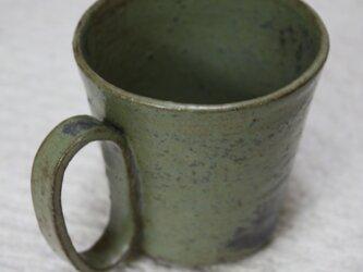 環型持ち手の赤土に黄緑窯変釉薬カップ#1の画像