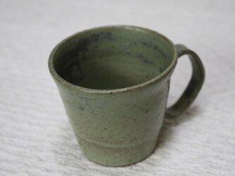環型持ち手の赤土に黄緑窯変釉薬カップ#2の画像