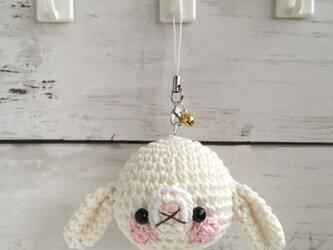 【受注生産】白色ロップイヤー うさぎお顔(大)鈴付きイヤホンジャックストラップの画像