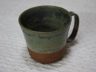 環型持ち手の赤土に黄緑窯変釉と空砂釉カップ#1の画像