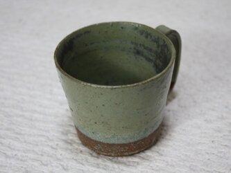 環型持ち手の赤土に黄緑窯変釉と空砂釉カップ#2の画像