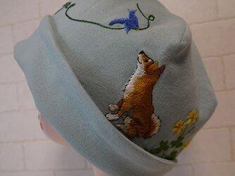 コットン素材スパンフライスニット生地で作ったニット帽(柴ちゃんとカタバミ)の画像