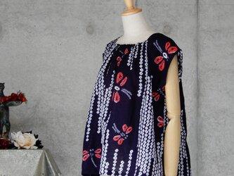 着物リメイク 有松絞りのチュニックブラウス/トンボ/濃紺の画像