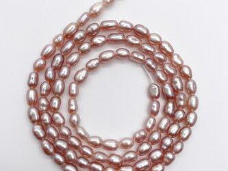 極小 バロックライス 淡水パール 連材 40cm パープル系 本真珠 3~4mm*2.5~3mm パーツ ルース 素材の画像