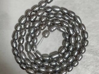 連材 38~41cm 小粒 ライス 淡水パール シルバーグレー系 本真珠 4~6mm*3~3.5mm パーツ 素材の画像