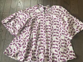 紫猫柄チュニックの画像