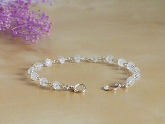 【純銀】レインボームーンストーンのブレスレットの画像