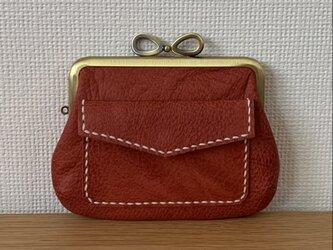 【送料無料】ぱかっと開くとお部屋が3つの親子がまぐち♪外ポッケが付いたリボン口金の四角い本革ミニ財布(赤レザー)の画像