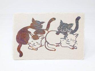 ギルディング和紙葉書 4匹の猫 黄混合箔の画像