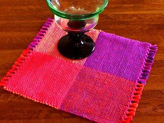 手織り カラーリネンのリバーシブルミニマット(№4)の画像