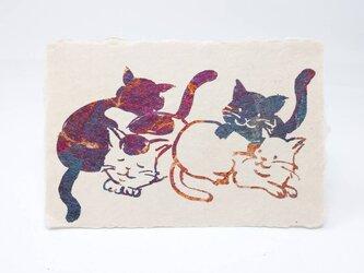 ギルディング和紙葉書 4匹の猫 赤混合箔の画像