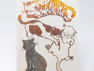 ギルディング和紙葉書 5匹の猫 黄混合箔の画像