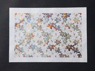ギルディング和紙A3サイズ 百合 生成和紙 黄混合箔の画像