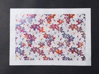 ギルディング和紙A3サイズ 百合 生成和紙 赤混合箔の画像