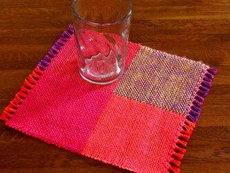 手織り カラーリネンのリバーシブルミニマット(№5)の画像