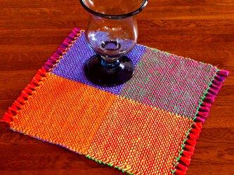 手織り カラーリネンのリバーシブルミニマット(№6)の画像