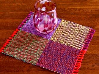 手織り カラーリネンのリバーシブルミニマット(№7)の画像