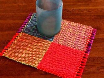 手織り カラーリネンのリバーシブルミニマット(№8)の画像