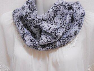 2点のみ☆レースのスヌード(ねじり一重&白黒フラワー)スカーフ・付け衿感覚で☆シングルの画像