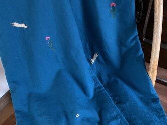 綿麻 ワイドパンツ ナデシコとシャム猫の画像