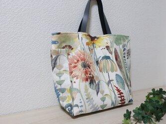 (受注製作)イギリス花柄リネン混サイドポケット付きトートバックの画像