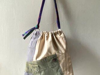 shoulderbag /ヴィンテージ ストライプの巾着ショルダーバッグ ■tf-364の画像