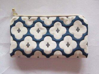 フランス生地 (MS)ネイビーに白花柄ポーチ  鍵入れ 財布 充電器入れ コスメ入れ 薬の画像