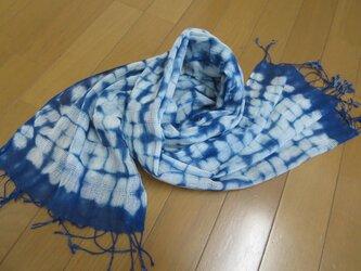 本藍染絞り ストール 綿100%の画像