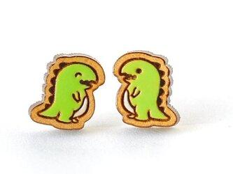 『田田製作所』手作り レディースピアス 恐竜緑の画像