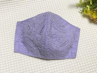 大人用(大きめ)立体マスク コットンレース ペイズリー 藤紫の画像