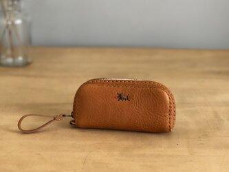 栃木レザー 手縫いのキーケース (キャメル)   の画像