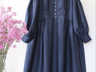 ★コットンシルク 2way 羽織ロングワンピース★紺の画像