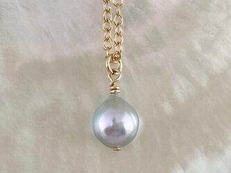 アコヤ真珠◇天然色 Lavender Silver ◇K14GFペンダントの画像