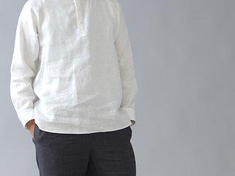 【Lサイズ】【wafu】リネン スタンドカラー シャツ 男女兼用 カフス袖 中厚地 /ホワイト t038g-wht2の画像