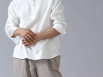 【Mサイズ】【wafu】リネン スタンドカラー シャツ 男女兼用 カフス袖 中厚地 /ホワイト t038g-wht2の画像