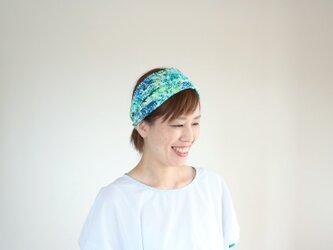 ワイドなヘアバンド 紫陽花 梅雨 青 緑の画像