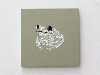 カエルのファブリックパネル M-735◆グリーン/白の画像